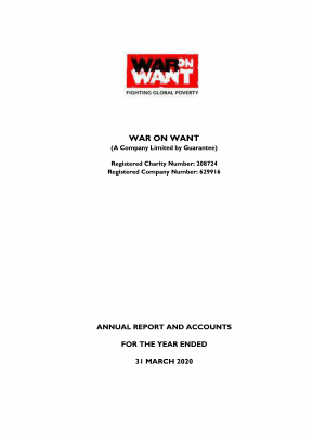 Front cover of War on Want's annual report and accounts for the year ended 31 March 2020