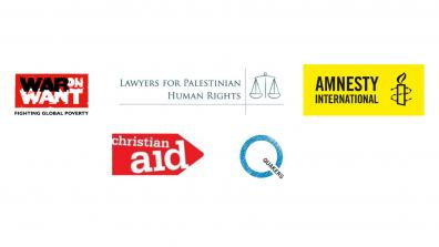 Logos of the signatories: War on Want, Lawyers for Palestinian Human Rights, Amnesty International, Christian Aid, Quakers